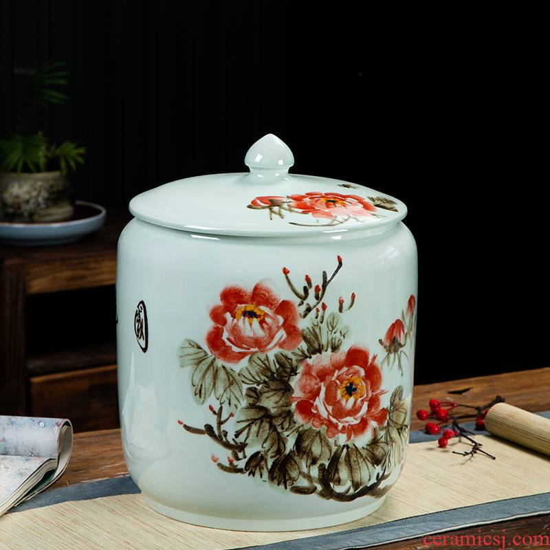 Jingdezhen ceramic barrel tank 20 jins 30 jins the loaded with cover seal storage tank moistureproof insect - resistant hand - made m barrels