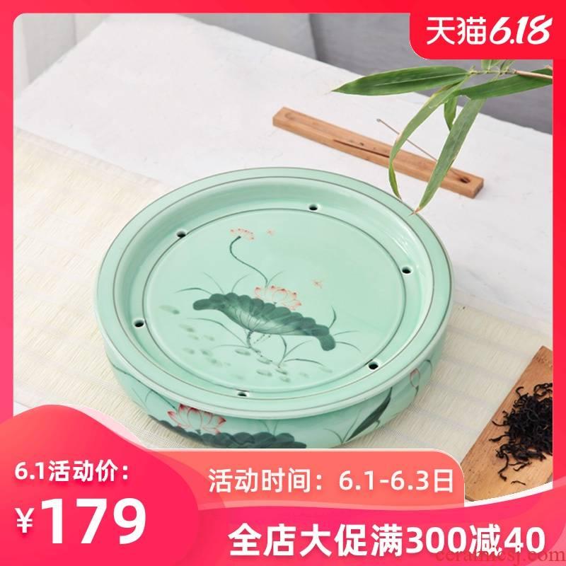 Longquan celadon ceramic tea set round kunfu tea tea tray was round tray household water storage large ship tea big number