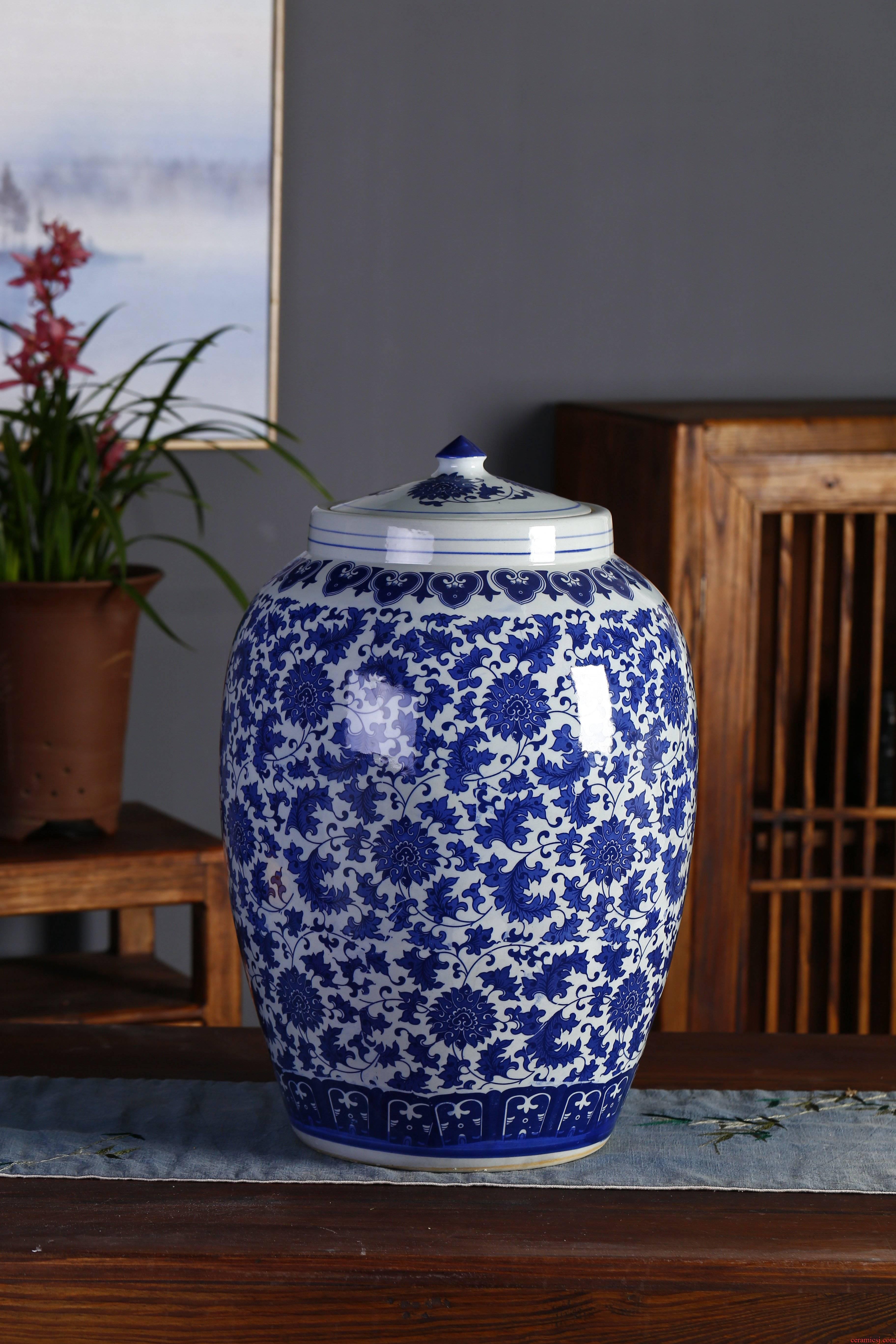 Jingdezhen ceramic barrel ricer box tank cylinder 20 jins 30 jins 50 kg 100 jins seal storage tank
