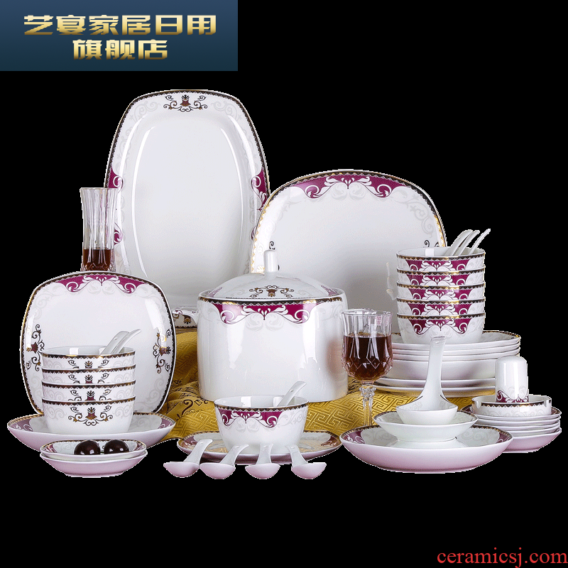 3 PLT jingdezhen ceramic tableware suit to use chopsticks dishes home European ipads bowls disc suit household