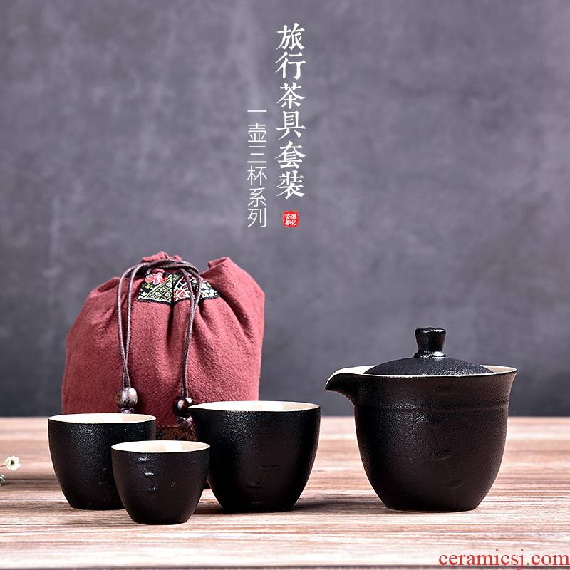HaoFeng ceramic cup to crack a pot of travel two cups of tea set is suing portable bag home Japanese kung fu tea pot