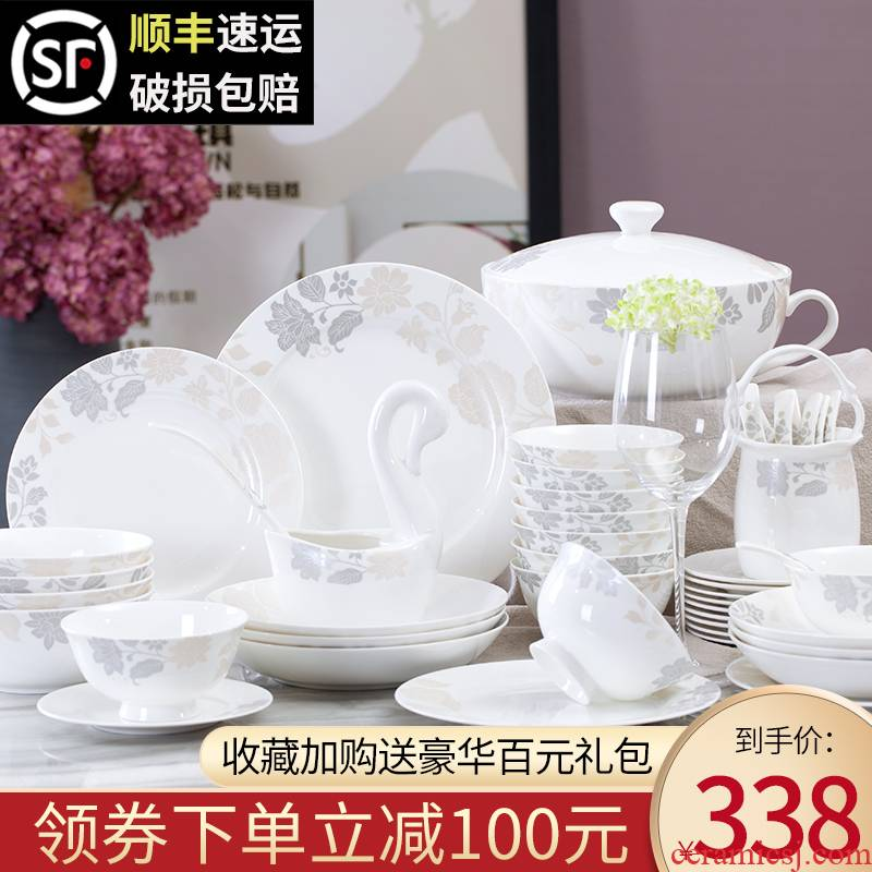 Ipads China tableware suit 56 head of jingdezhen ceramics tableware ou bowl chopsticks dishes dishes suit household composition