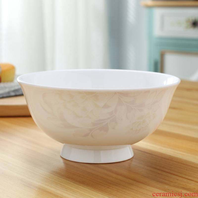 Jingdezhen ceramic bowl ipads China rainbow such as bowl 6 inches large soup bowl bowl tall bowl prevent hot bowl of bowls rainbow such use