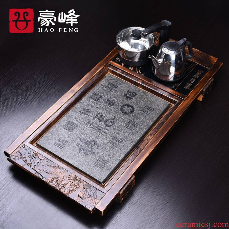 HaoFeng solid wood'm f with sky sharply stone tea tray tea tea tray tea four unity of electric heating furnace