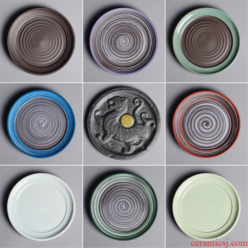 Ceramic tray was circular household contracted creative move desktop green plant pot basin water pans flowerpot tap is special