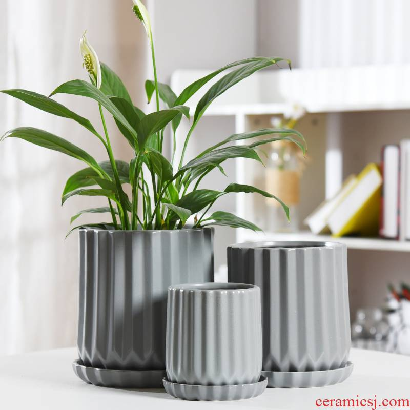 Flowerpot ceramic contracted white Nordic style take tray other orchids green plant most creative move, the flower pot