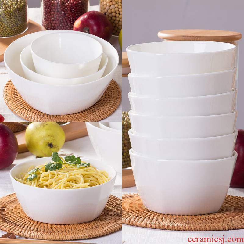 Jingdezhen move pure white lead - free household ceramic ipads China dinner party Korean rice bowl bowl rainbow such as bowl bowl 7 inches