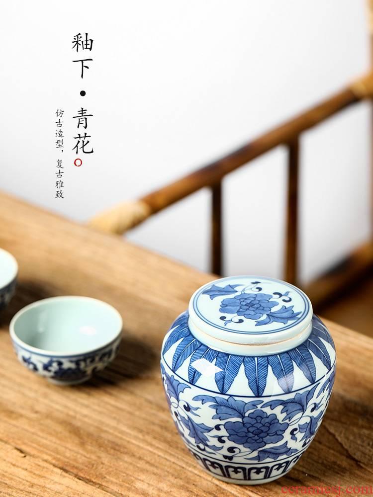 Caddy fixings jingdezhen porcelain hand - made ceramic pot antique store tea as cans restoring ancient ways the receive a box of tea accessories