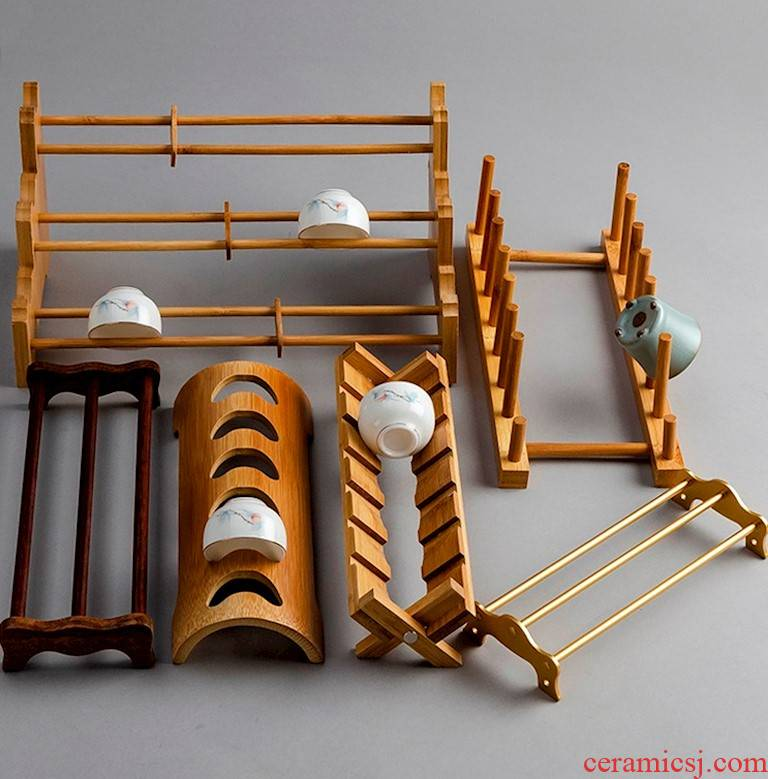 Wooden kung fu tea tray was real wood frame, single - slot drop a cup tray at home hanging cup frame bamboo cups