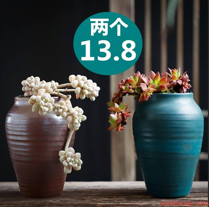 Old running the flowerpot coarse pottery breathable special large creative move clearance to restore ancient ways more meat meat meat plant ceramics flower POTS