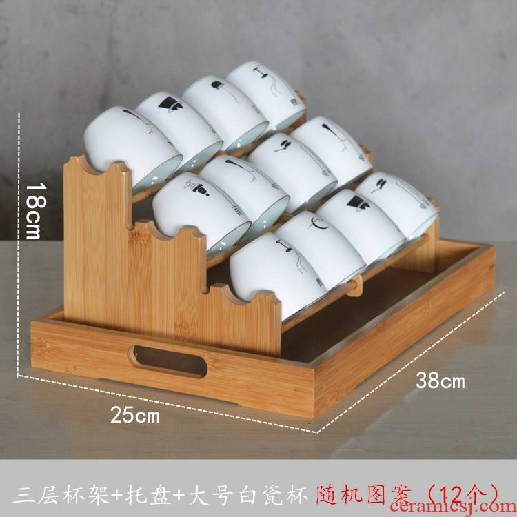 Kung fu tea cup rack tray bamboo cup tea sets the receive waterlogging under caused by excessive rainfall frame double cup beverage holder shelf