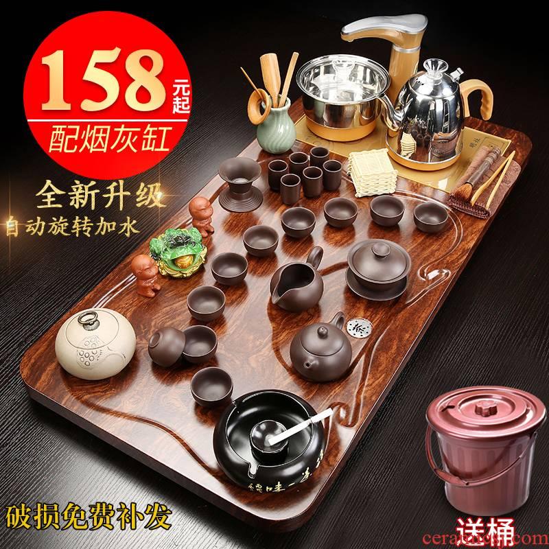 Household automatic integrated tea tea set suit sitting room office receives a visitor kung fu tea tray was solid wood tea sets tea table