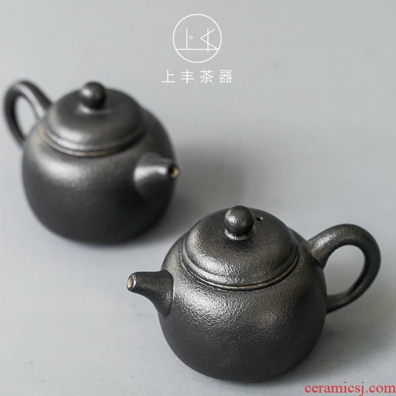 Feng little teapot of black ceramic tea set on the teapot single pot of domestic Japanese tea machine manual mini filtering pot