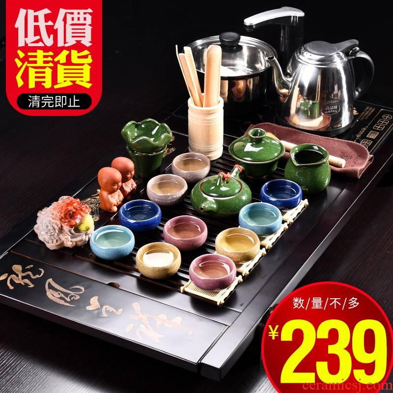 JiaXin suit make tea cups household kung fu tea set contracted ceramic teapot tea tea table of a complete set of solid wood tea tray