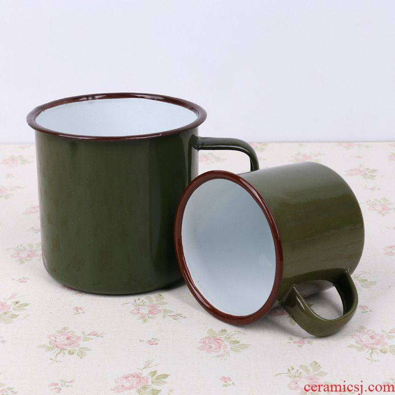 Nostalgic classic authentic army green tea urn enamel koubei he was training retro iron tea cylinder for wash gargle cup army green cup