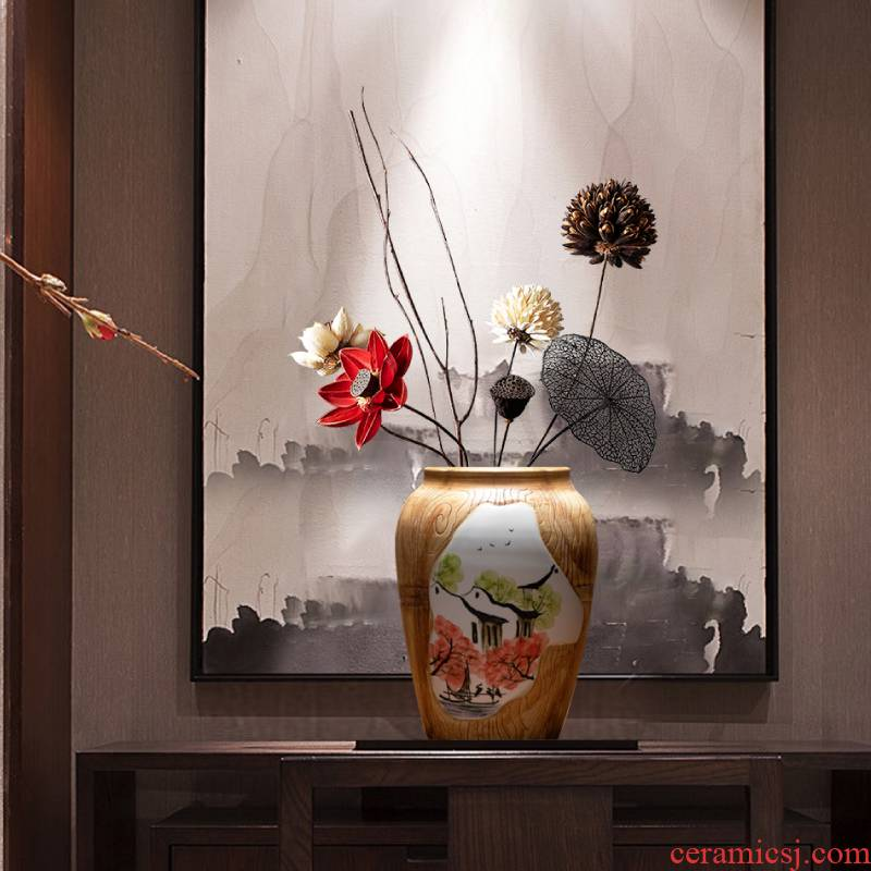 Jingdezhen dried flowers flower arrangement of new Chinese style zen vase furnishing articles ceramic table sitting room TV ark, adornment to restore ancient ways