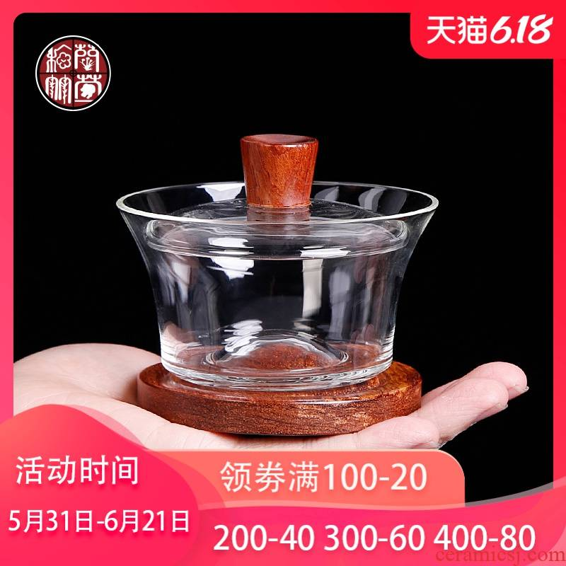 Glass flower pear hand grasp tea tureen single more transparent Chinese worship only three cup bowl tea set to heat