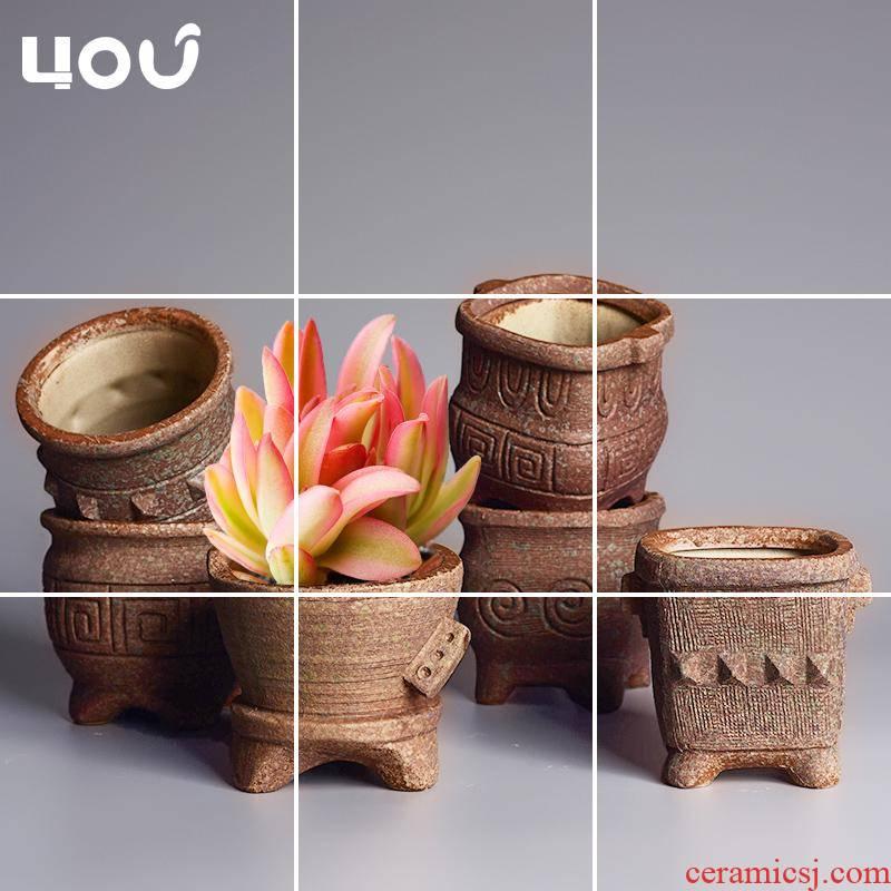 Coarse pottery flowerpot more meat ceramic trumpet breathable clay POTS asparagus pot a fleshy plant POTS