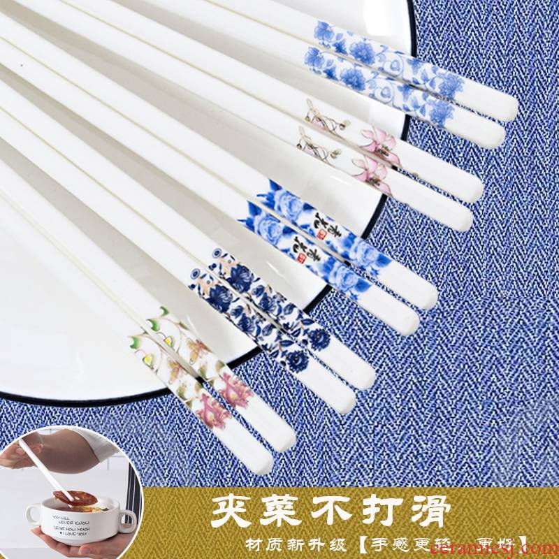 Implicit artisan chopsticks slid out household of Chinese style ipads five pairs of jingdezhen porcelain chopsticks tableware