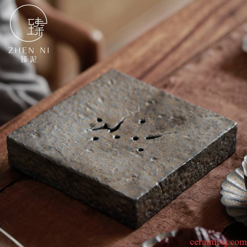 Restoring ancient ways by manual mud Japanese pot bearing rust glaze gold dry tea contracted kung fu tea pot pad water tea tray