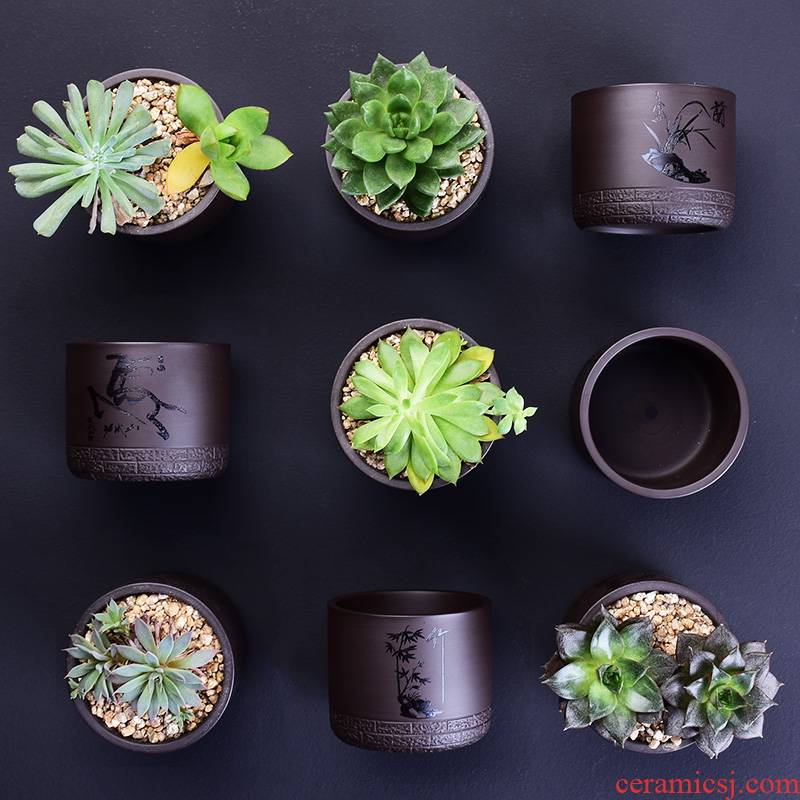 Fleshy flower pot in creative ceramic custom engraving LOGO text breathable contracted the desktop, the plants potted violet arenaceous basin