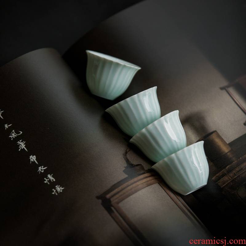 Vegetation school ceramics shadow green tea Japanese single CPU personal cup master cup sample tea cup kung fu tea tea bowl