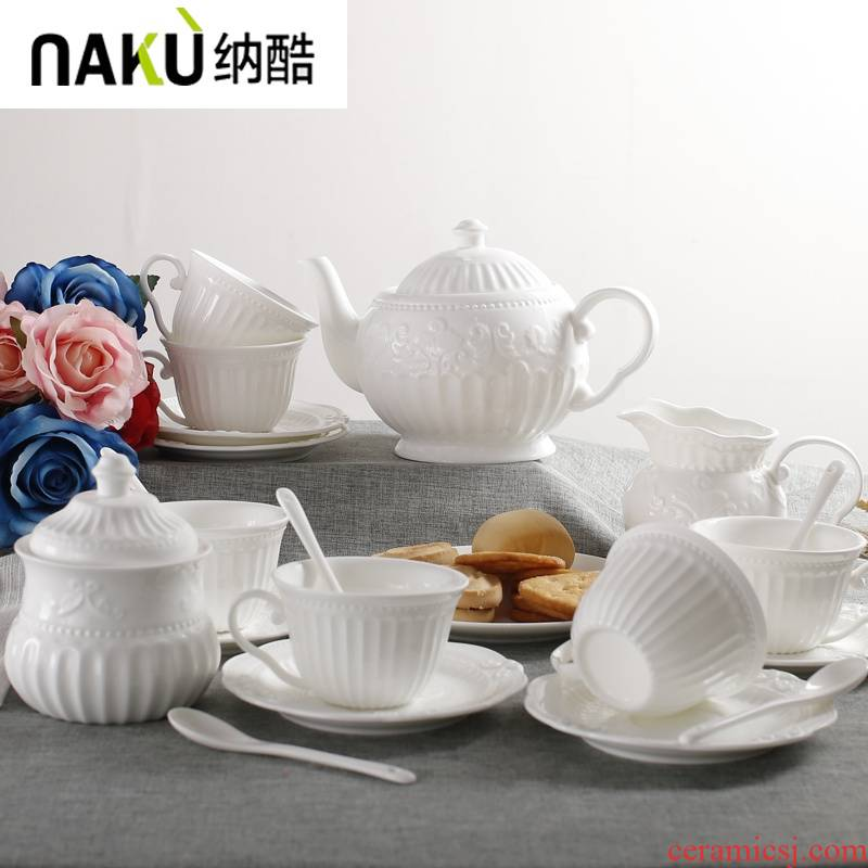, cool European pure white coffee cup sets of ipads China relief ceramic tea cup tea tea saucer