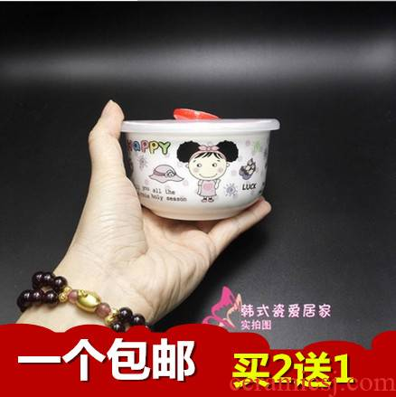 Small ipads porcelain ceramic preservation bowl with cover with sealing cover a single microwave rainbow such as bowl bento lunch box mercifully