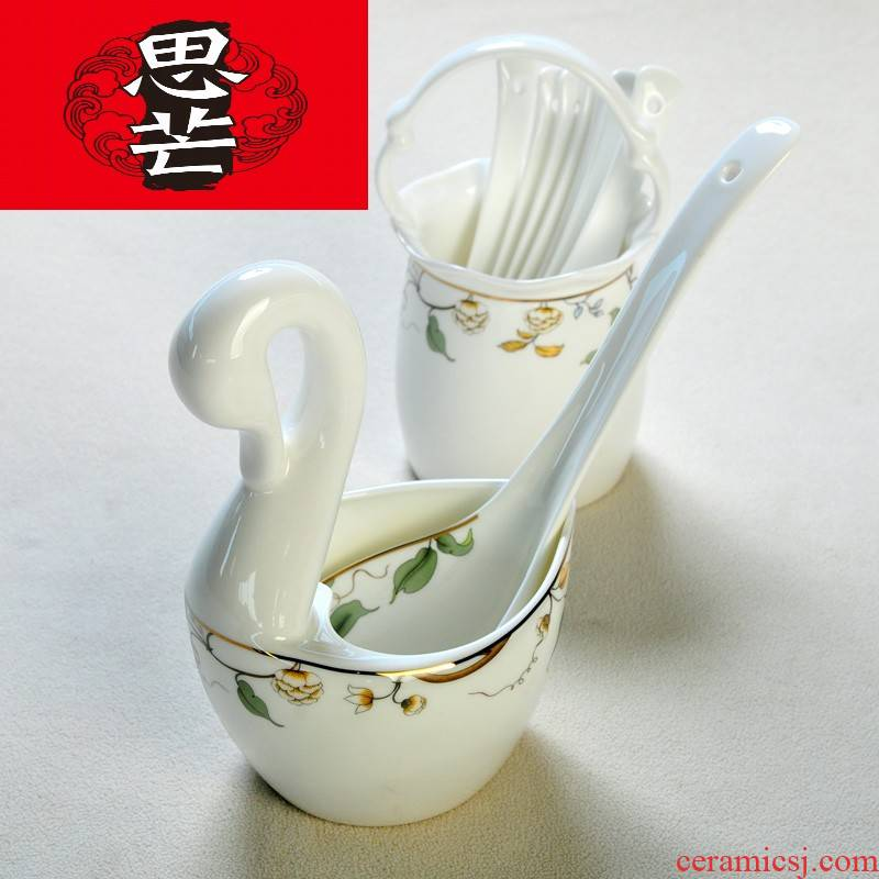 Thinking mans ceramic champs elysees Korean tableware swan, flower basket cage frame spoon tube creative kitchen receive chopsticks cage chopsticks