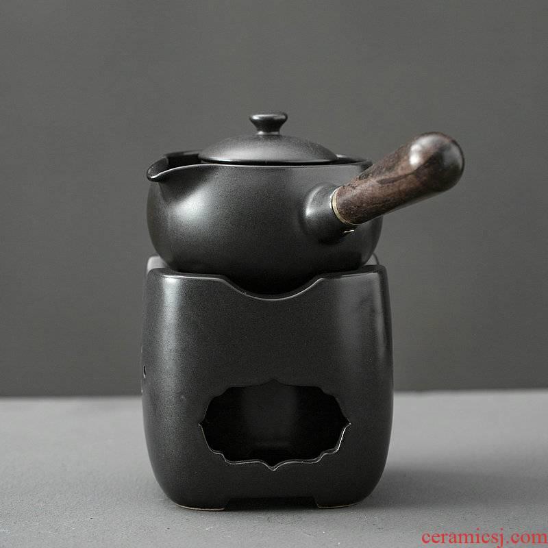 Japanese charcoal'm black pottery teapot zen side put the pot of boiled tea, the electric TaoLu who mandarin orange, white tea pu 'er large base
