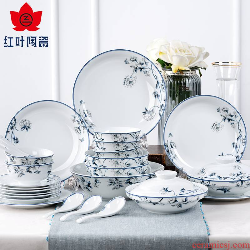 Red porcelain jingdezhen high - grade white porcelain tableware suit dishes household of Chinese style to hold to hot soup plate wedding gifts