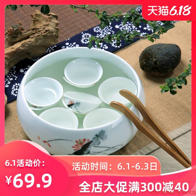 Household kung fu tea accessories large ceramic tea wash cup XiCha basin writing brush washer from large water jar for wash cup bowl of jingdezhen