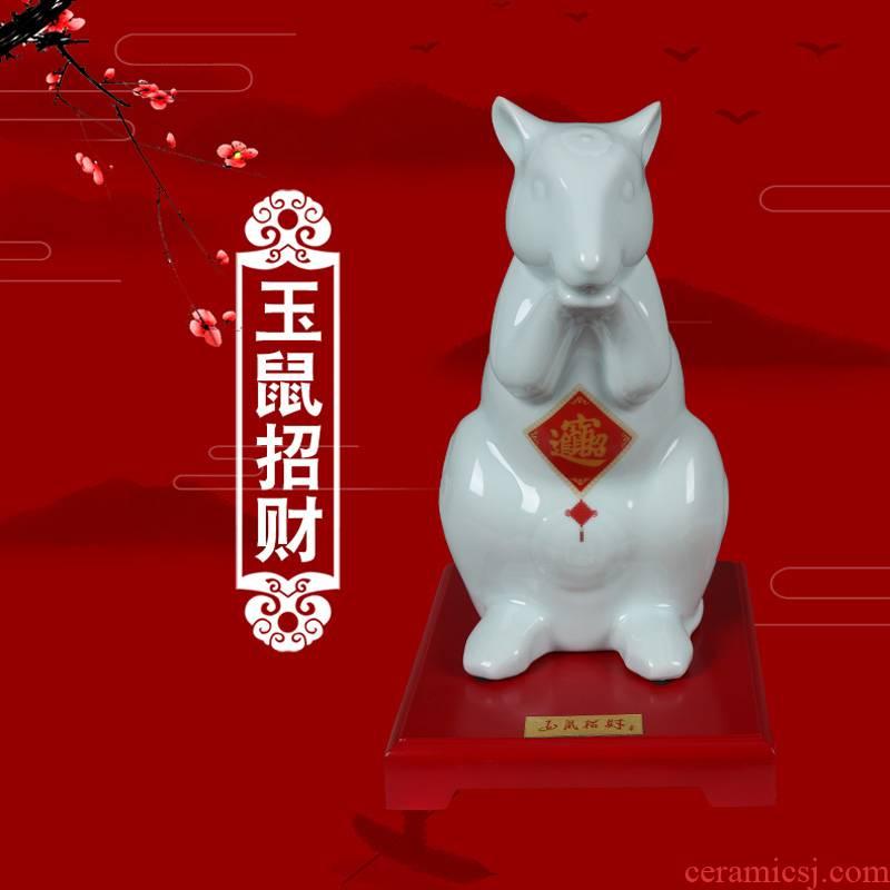 2020 year of the rat zodiac mascot master of jingdezhen ceramic furnishing articles liu jade culture rat less lucky gift porcelain carving