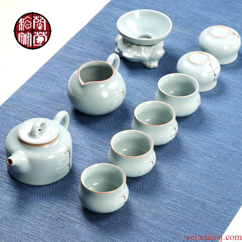 The porcelain tea set piece of ice to crack open your up can raise The from The days of a complete set of cyan a pot of six cups of tea