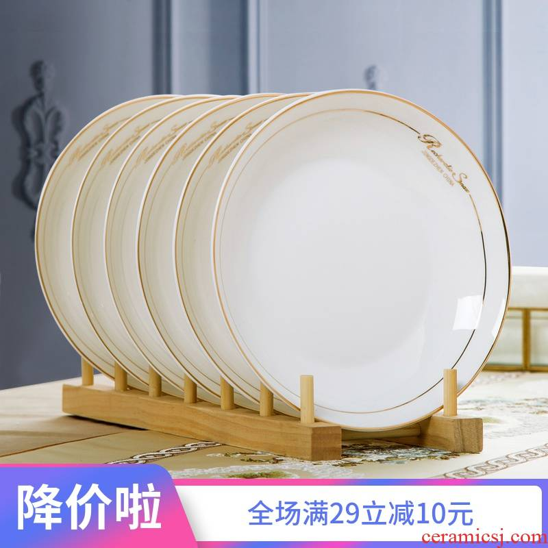 Four jingdezhen household ipads porcelain tableware dish dish dish home outfit ceramic European - style 8 inches FanPan deep dish
