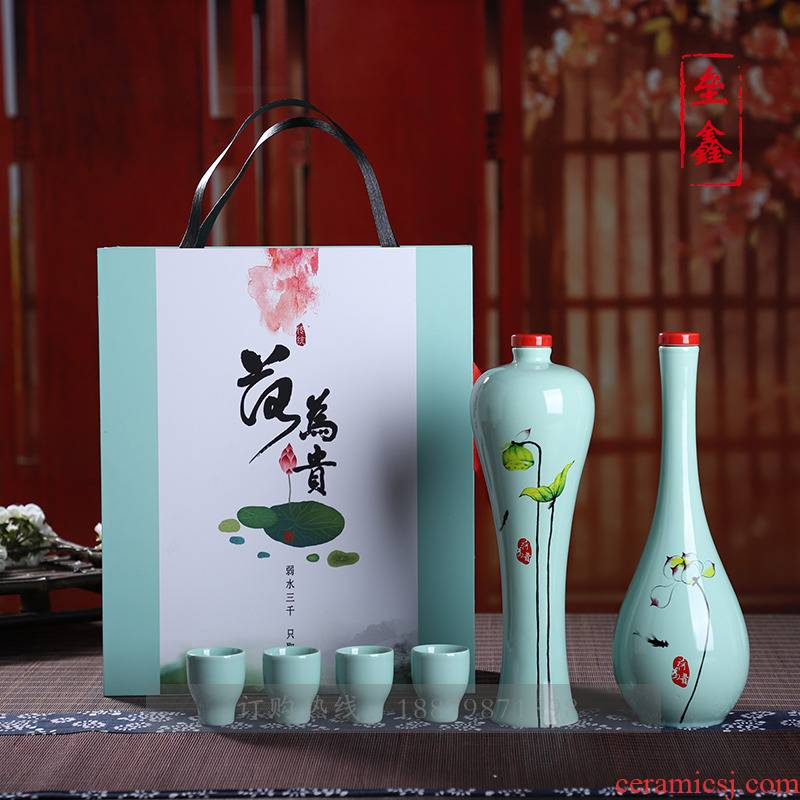Ceramic bottle 1 catty set decoration high - grade custom home furnishing articles creative seal the empty bottle glass flask gift box