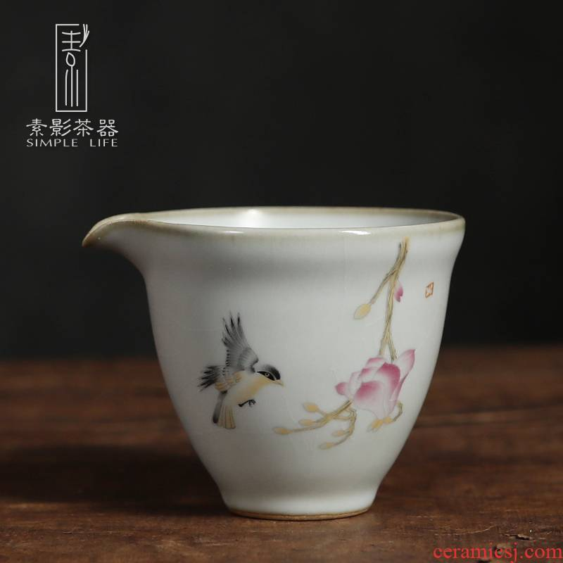 Restoring ancient ways, shadow your up ceramic ink handheld well fair keller cup home RuTao points of tea, of primitive simplicity is old color