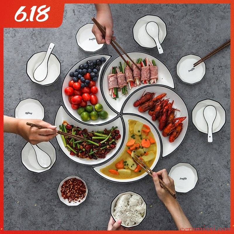 Web celebrity in same moon reunion platter ceramic tableware portfolio family dinner plate spell dish dish bowl chopsticks sets