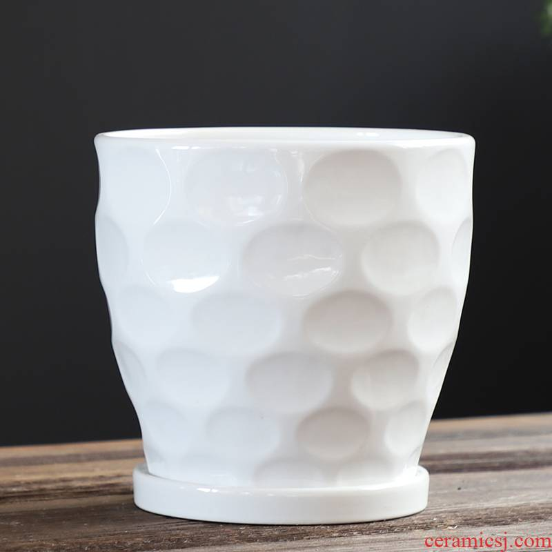 Flowerpot ceramic creative Nordic contracted large extra large, black and white with tray indoor and other household special offer a clearance
