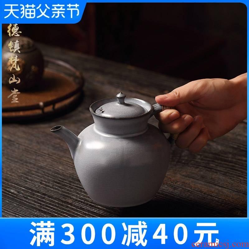 Jingdezhen Vatican rock hall soda glaze large teapot manual old mud teapot kung fu tea set piece of clay POTS