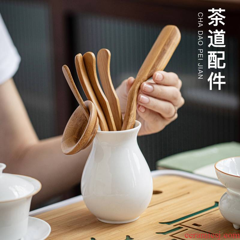 Contracted tian, white tea way to 6 gentleman combination kung fu tea accessories ceramic tube of bamboo wood ChaGa tea spoon