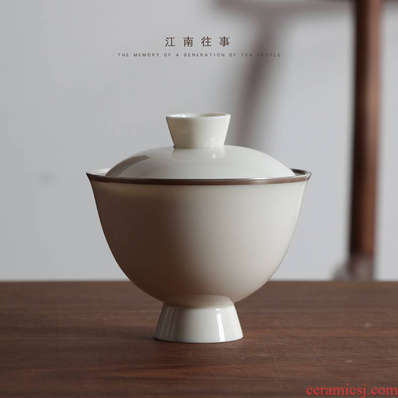 Jiangnan hand past thin foetus tureen built white jade porcelain cups kung fu tea bowls household ceramic tea set tea bowl
