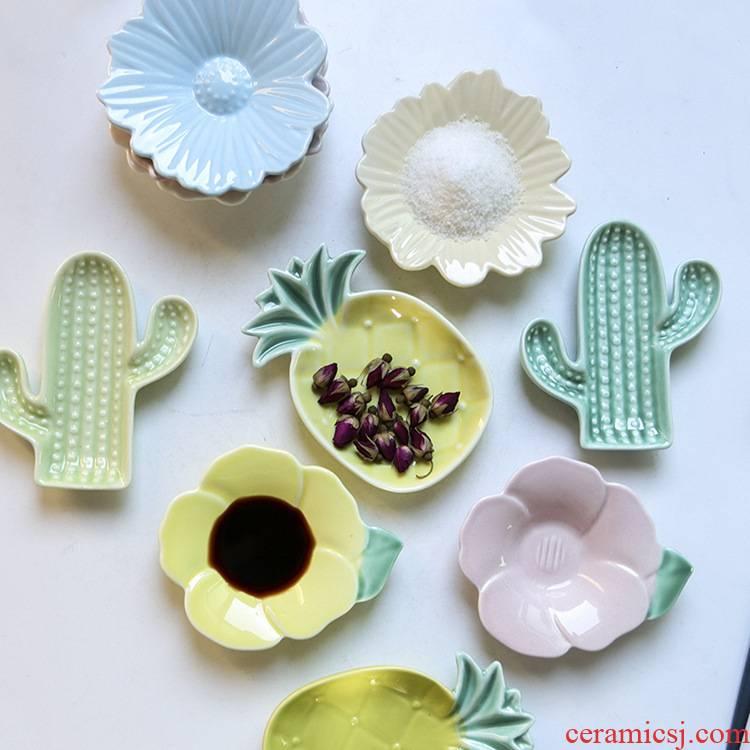 1 household ceramics flavor dish creative cartoon small taste tea plate tableware vinegar sauce dips disc snack plate