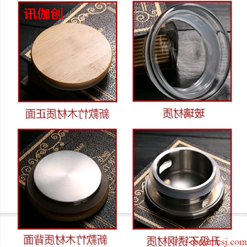 Cool glass of cold water fittings zero consumption of stainless steel filter lid with bamboo kung fu tea accessories