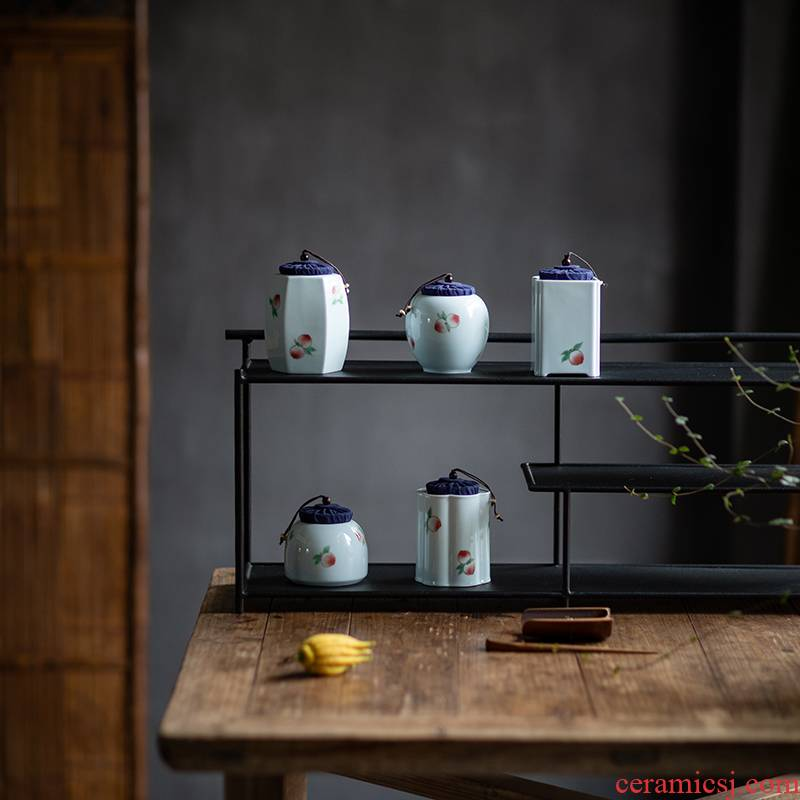 Vegetation school hand - made ceramic tea pot seal storage tanks, small tea POTS and tea pot kung fu tea storehouse