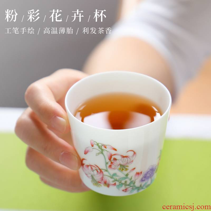 The Escape this hall jingdezhen hand - made famille rose porcelain cups masters cup single small white porcelain cups kung fu tea cup