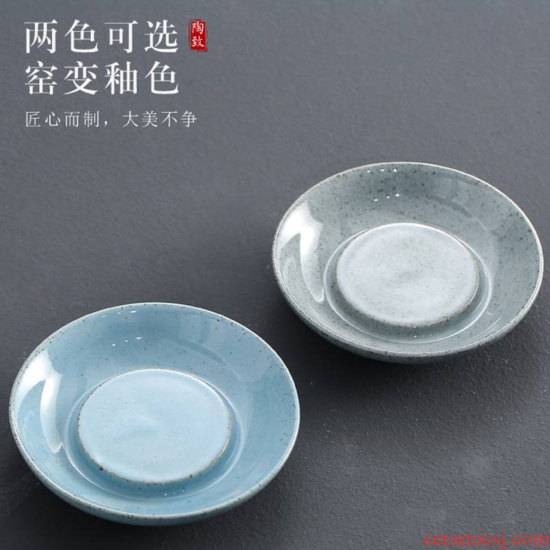 Creative pot bearing restoring ancient ways of open piece of ice to crack glaze teapot a small mini tray household circular water cup pad