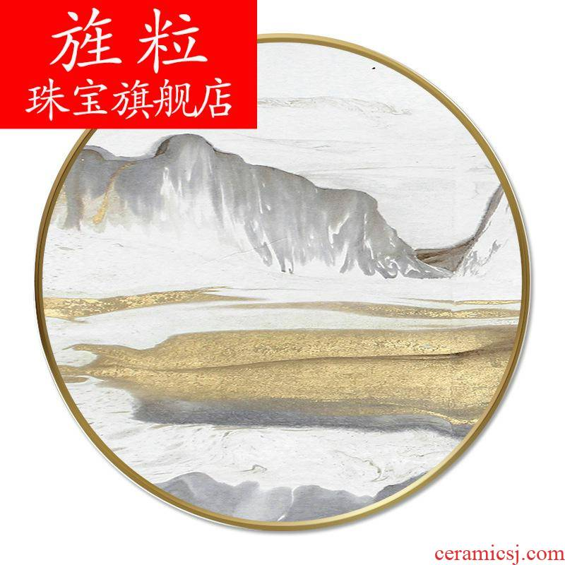 Fi crystal porcelain round box and hang a picture of the new Chinese style innovative restaurants teahouse crystal porcelain painting the sitting room, bedroom light much background wall
