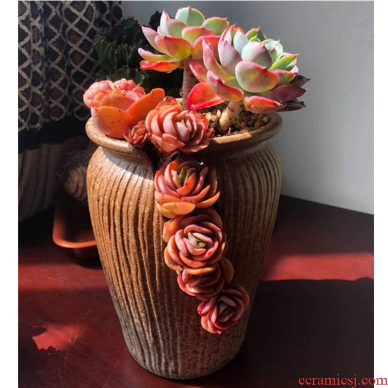 Old high ceramic flower pot basin mage flowerpot creative large indoor retro move coarse pottery meaty plant flower pot