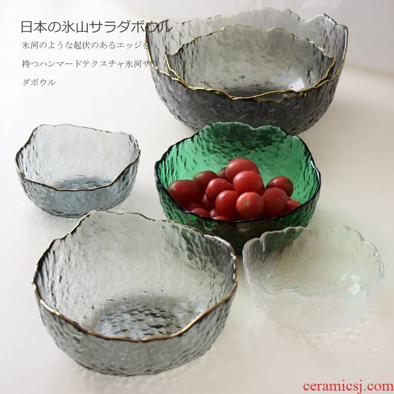 Japanese hammer glacier transparent glass bowl up phnom penh large glass bowl tip fruit and vegetable salad bowl tea wash bowl of dessert